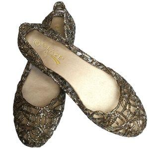 Glaze Pewter Multi Glitter Jelly Ballet Flat Shoes